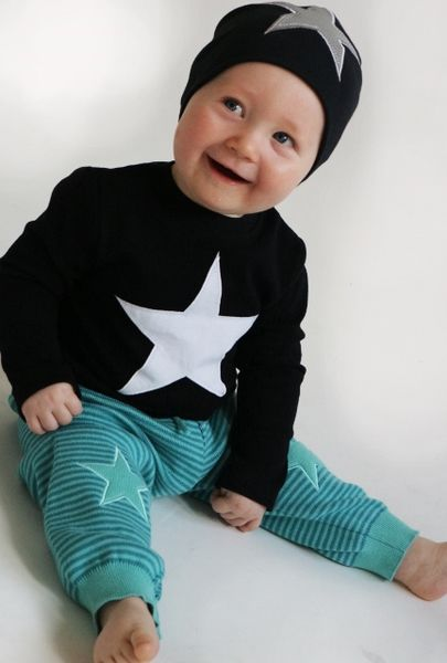 Baby-knitted pants, turq/blue star