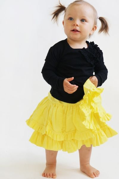 Frill skirt, yellow