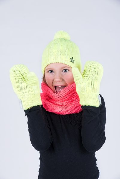 Mittens with fleece lining, bright yellow